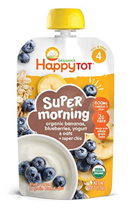 Happy Tot Organic Stage 4 Super Morning Organic Bananas Blueberries Yogurt & Oats + Super Chia