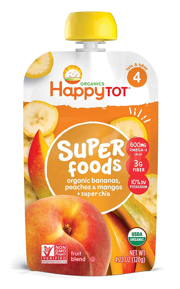 Happy Tot Organic Super Foods Bananas Peaches & Mangos + Super Chia