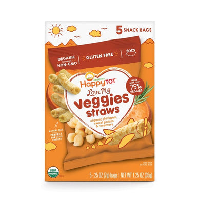 Happy Tot Love My Veggies Straws Chickpea, Sweet Potato and Rosemary 6-pack