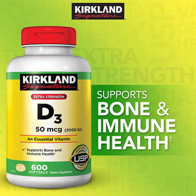 Kirkland Vitamin D3 2000 IU 600 softgels