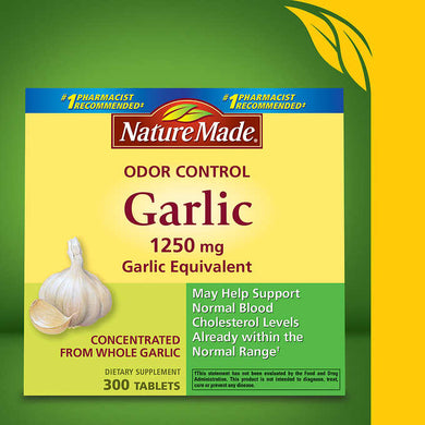 Nature Made Odor Control Garlic 1250 mg. 300 Tablets