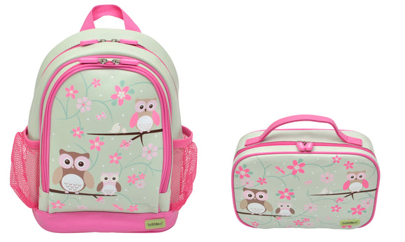 Bobble Art Bundle of Small Backpack and Small Lunch Bag - Owls