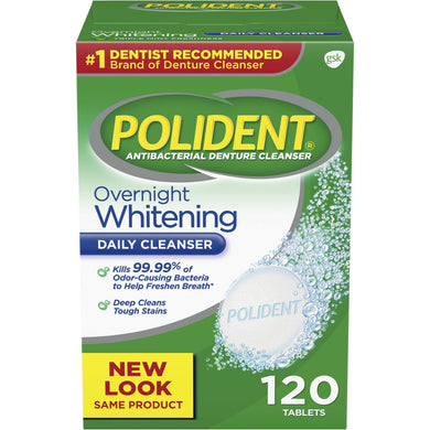 Polident Overnight Whitening Antibacterial Denture Cleanser Tablets 120s