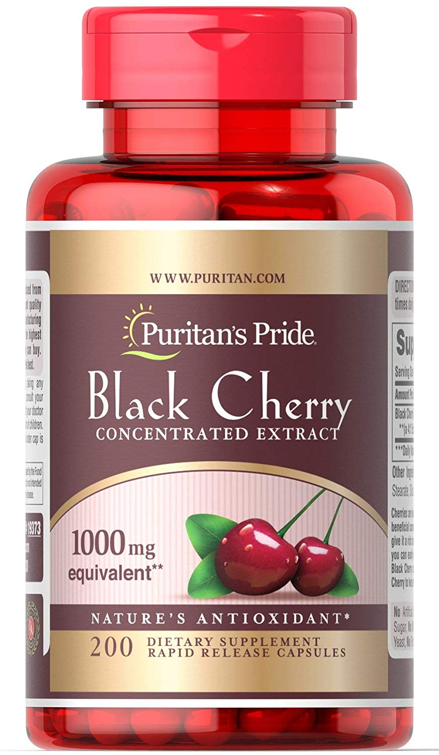 Puritan's Pride Black Cherry 1000 mg  200 Capsules EXP 8/20
