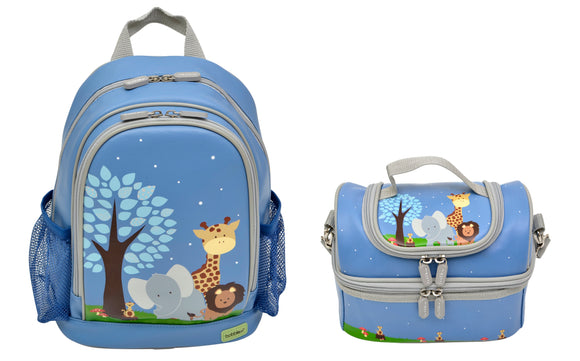 Bobble Art Bundle of Large Backpack and Large Lunch Bag - Safari