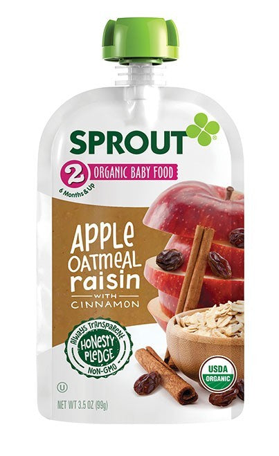 Sprout Organic Stage 2 Apple Oatmeal Raisin 4 oz