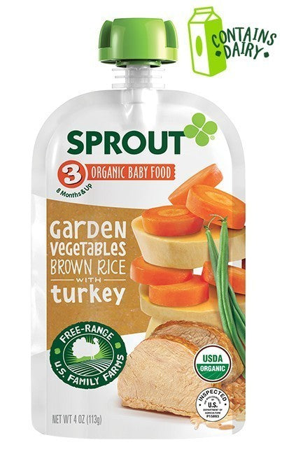 Sprout Organic Stage 3 Garden Vegetables Brown Rice with Turkey 4 oz