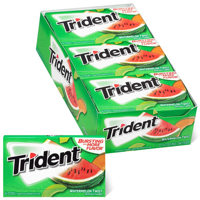 Trident Watermelon Twist Sugar Free Gum, 12 Packs of 14 Pieces