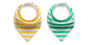 Bandana Bibs - Green Stripes and Yellow Stripes