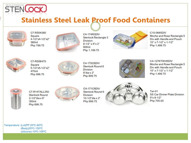 Stenlock Stainless Steel Leak Proof Container