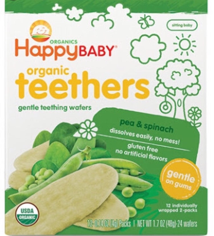 Happy Baby Organic Gentle Teethers Pea & Spinach