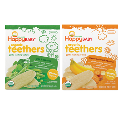 Happy Baby Organic Gentle Teething Wafer Bundle of  Sweet Potato & Banana, Pea & Spinach