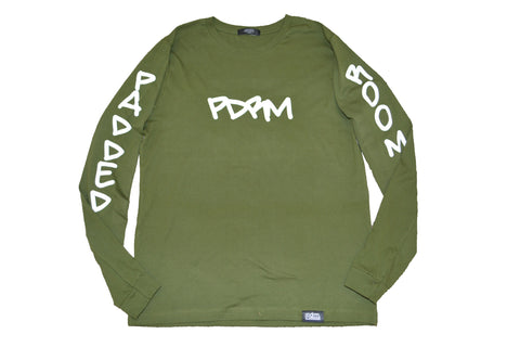 "PDRM Street Art Long Sleeve Tee ""Olive"" (Sizes: X-Small & XXL)"