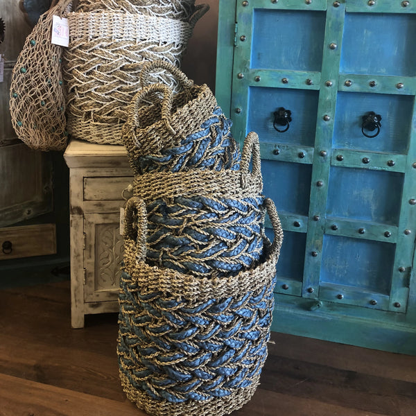 SEAGRASS BLUE STRIPE BASKET SET 3