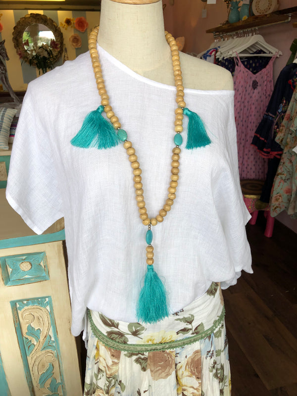 BLOSSOMS - 3 TASSEL LARGE NATURAL STONE AND BEADED NECKLACE
