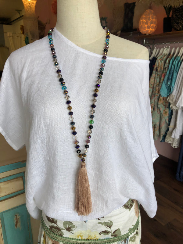 BLOSSOMS - LARGE CRYSTAL LONG TASSEL NECKLACE