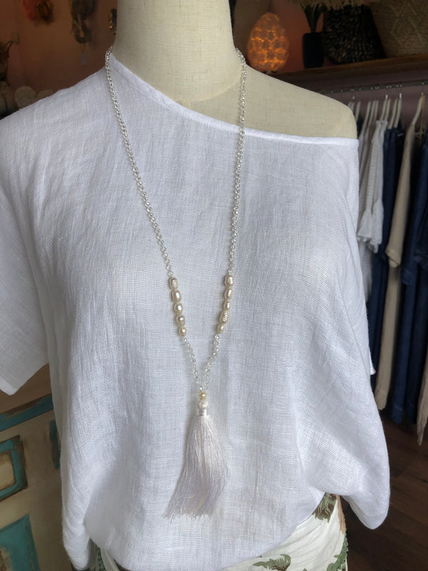 BLOSSOMS - PEARL LONG TASSEL NECKLACE