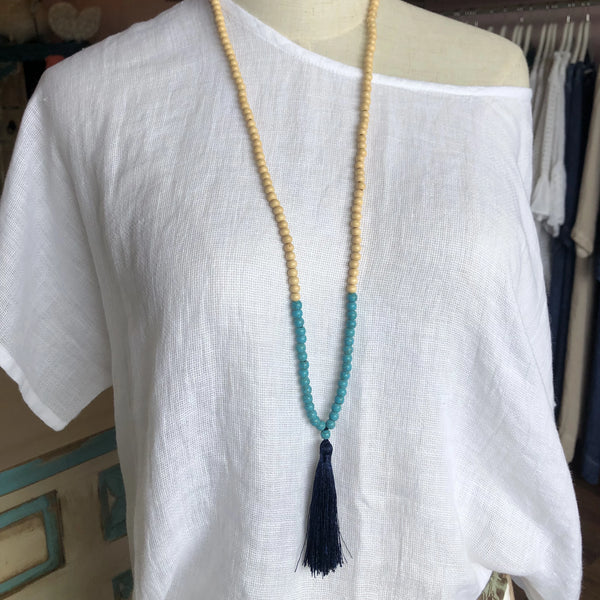 LONG TASSLE NECKLACE NAVY