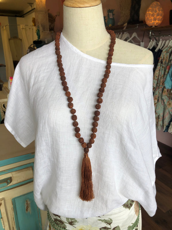 BLOSSOMS - LARGE SEED LONG TASSEL NECKLACE