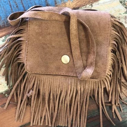 BLOSSOMS - AUTHENTIC SUEDE FRINGED BAG TAN