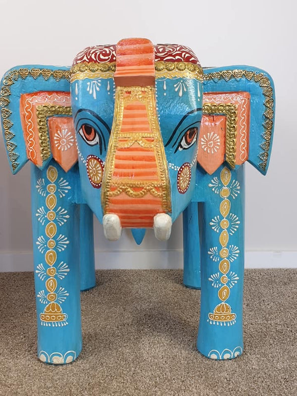 ELEPHANT STOOL/SMALL SIDE TABLE BLUE FRONT