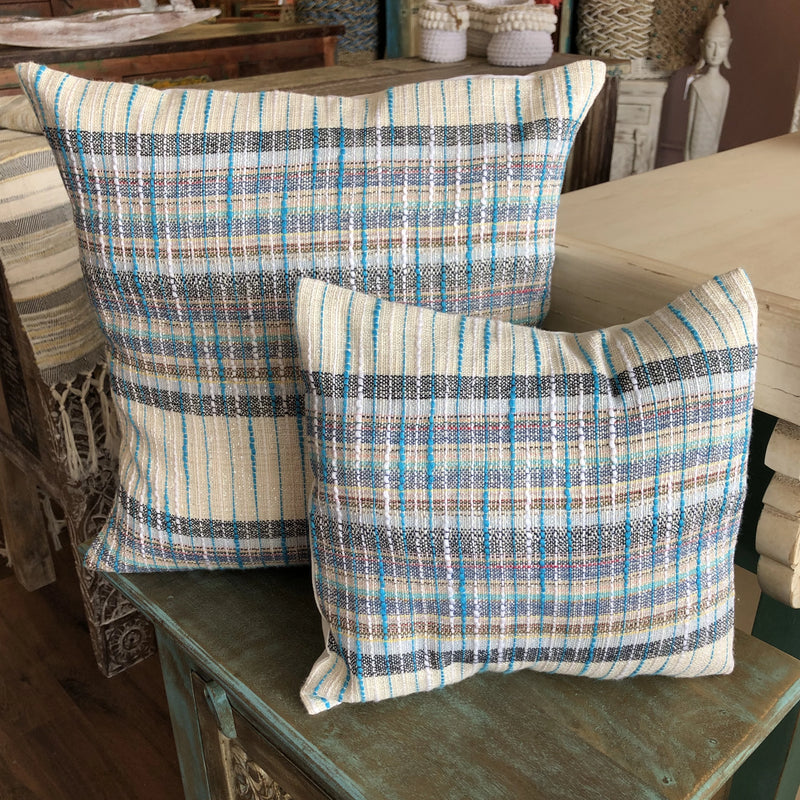 COTTON CUSHION BLUE/GREY