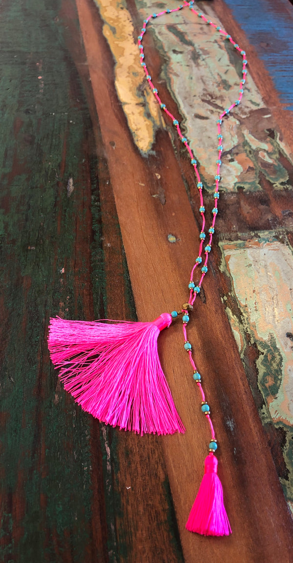 BLOSSOMS - 2 TASSEL BEAD NECKLACE