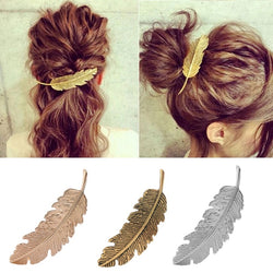 FEATHER METAL HAIR CLIP SILVER