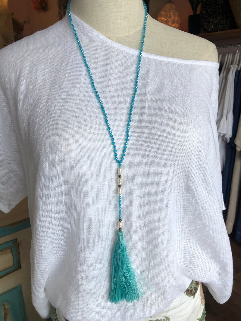 BLOSSOMS - PEARL 2 TASSEL NECKLACE