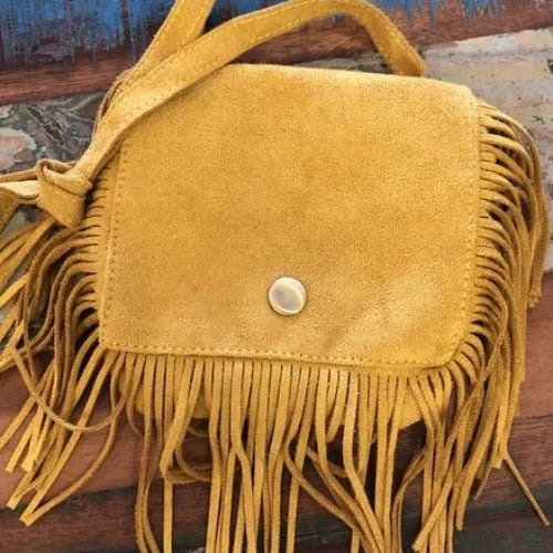 BLOSSOMS - AUTHENTIC SUEDE FRINGED BAG YELLOW