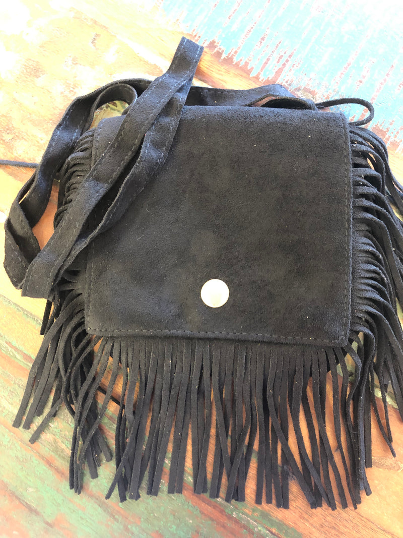BLOSSOMS - AUTHENTIC SUEDE FRINGED BAG BLACK