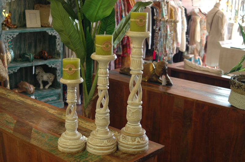 BLOSSOMS - SET OF 3 CANDLE STICK HOLDERS