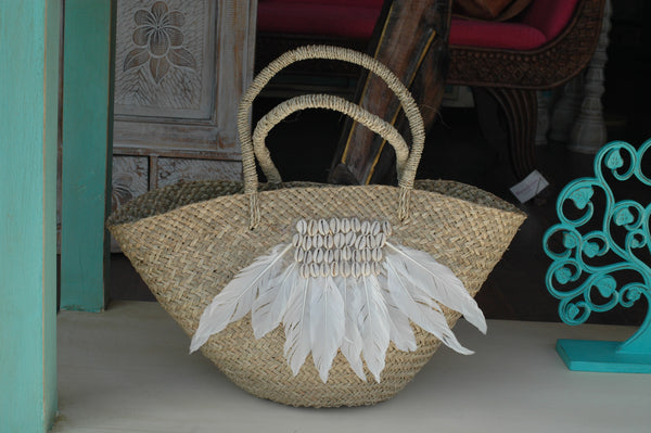Rattan feather bag