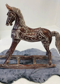 BLOSSOMS - WOODEN CARVED ROCKING HORSE