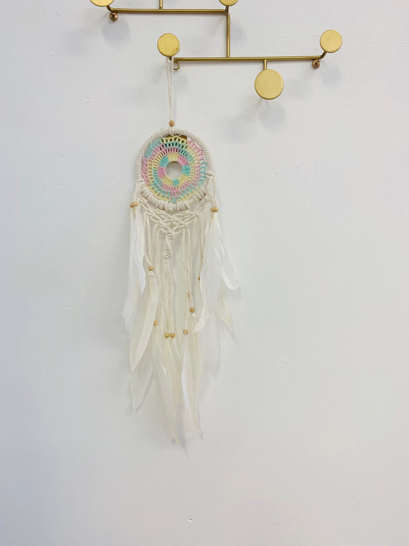 PASTEL RAINBOW SMALL CROCHET DREAM CATCHER