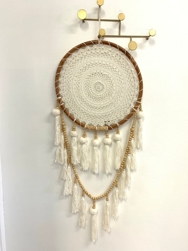 RATTAN POM POM DREAM CATCHER