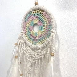 PASTEL RAINBOW SMALL CROCHET DREAM CATCHER DETAIL