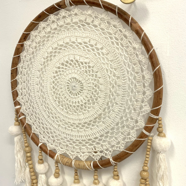 RATTAN POM POM DREAM CATCHER DETAIL