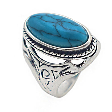 Retro Style Oval Stone Rings for Women and Men
