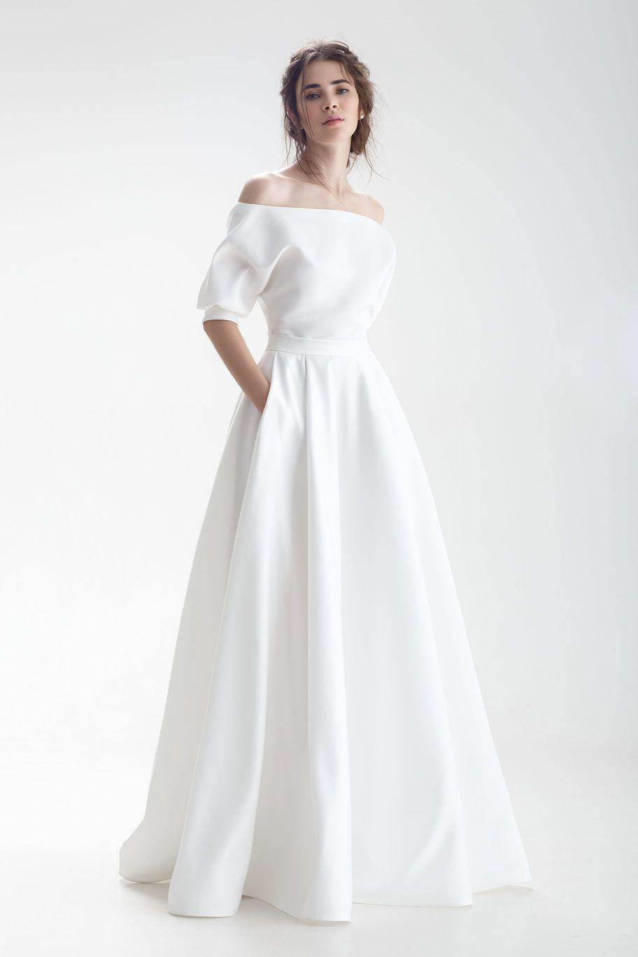 Modern and Sleek Off-Shoulder Wedding Dress with Pockets and Cut-Out Back - Mr. & Mrs. Tomorrow