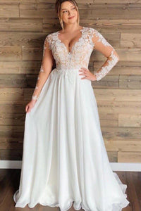Lacy Applique Top Sheath Wedding Dress with See-through Back - Mr. & Mrs. Tomorrow