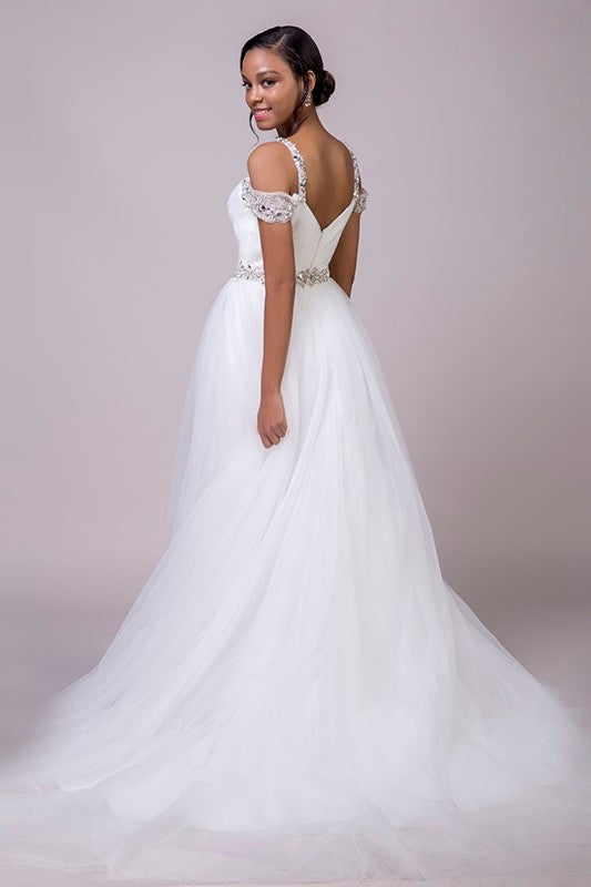 Beaded Sash Off Shoulder Tulle A-Line Wedding Dress - Mr. & Mrs. Tomorrow