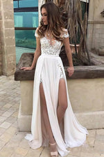 Double Slit Sheath Wedding Dress with Illusion V-neck - Mr. & Mrs. Tomorrow