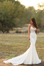 Sexy Mermaid Wedding Dress with Lace Top and Satin Skirt - Mr. & Mrs. Tomorrow
