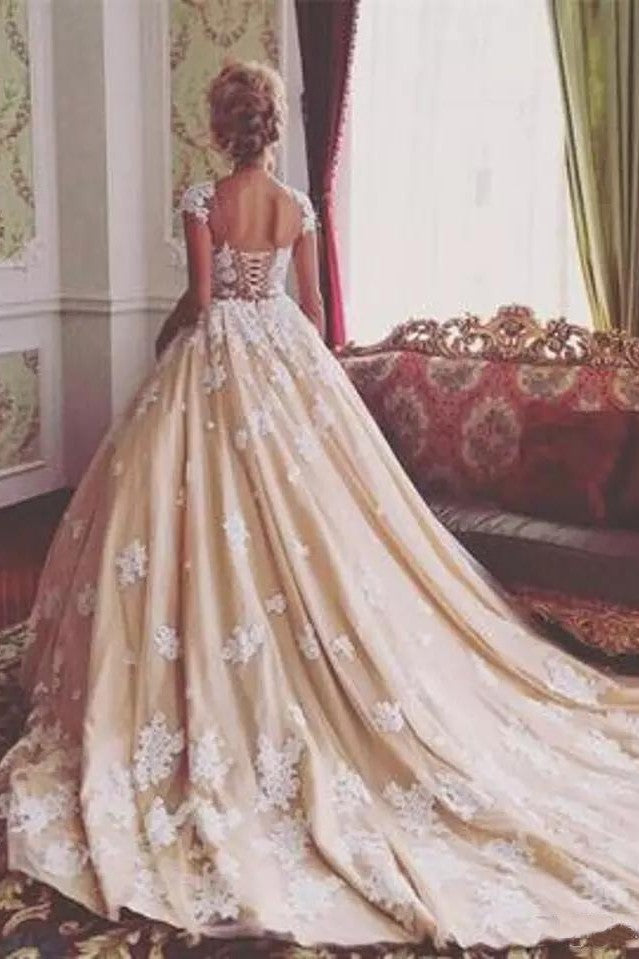 Romantic Champagne Arabic Sweetheart Ball Gown - Mr. & Mrs. Tomorrow
