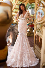 Lacy V-Neck Mermaid Wedding Dress with Long Sleeve and See-Through Design - Mr. & Mrs. Tomorrow