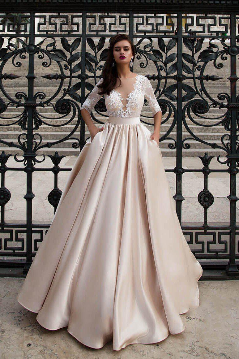 Modest A-Line Wedding Dress with Illusion V-Neck & Pockets - Mr. & Mrs. Tomorrow