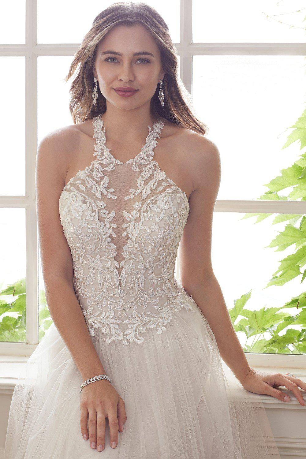 A-Line Halter Neck with Lace and Tulle Gown - Mr. & Mrs. Tomorrow