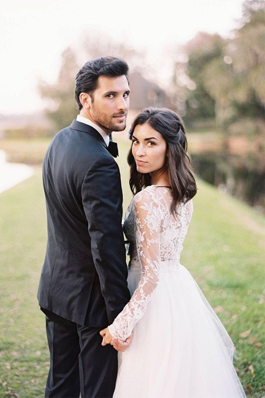 Boho 2 Piece Wedding Dress with Lace Top and Tulle Skirt - Mr. & Mrs. Tomorrow