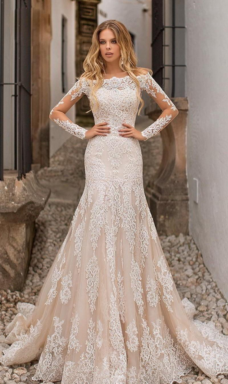 Romantic Lacy Trumpet Wedding Dress with Long Sleeve and Button-Back - Mr. & Mrs. Tomorrow